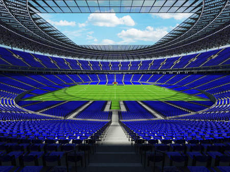 3D render of a round football - soccer stadium with blue seats for hundred thousand people with VIP boxes