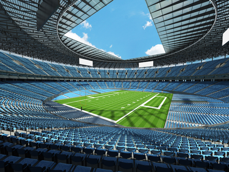 3D render of a round football stadium with sky blue seats, VIP boxes and blue sky for hundred thousand fans