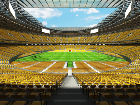 3D render of a round rugby stadium with  yellow seats and VIP boxes for hundred thousand people Stock Photo