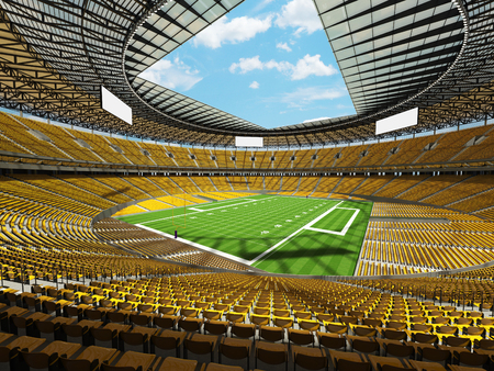 3D render of a round american football stadium with yellow seats and VIP boxes for hundred thousand fans Stock Photo