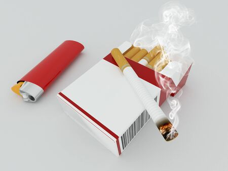 3D render of a pack of cigarettes with red lighter