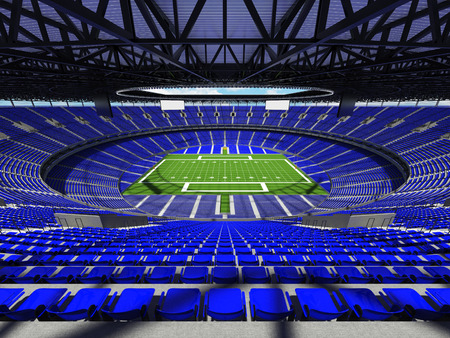 3D render of a round football stadium with blue seats for hundred thousand spectators and VIP boxes