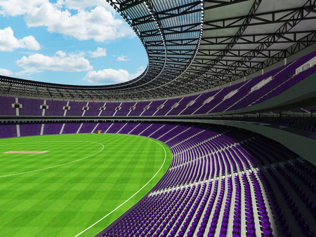 3D render of a beautiful modern round cricket stadium with purple seats and VIP boxes for hundred thousand people Stock Photo