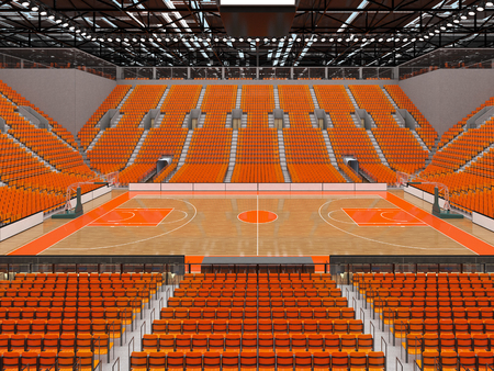Beautiful sports arena for basketball with orange seats and VIP boxes