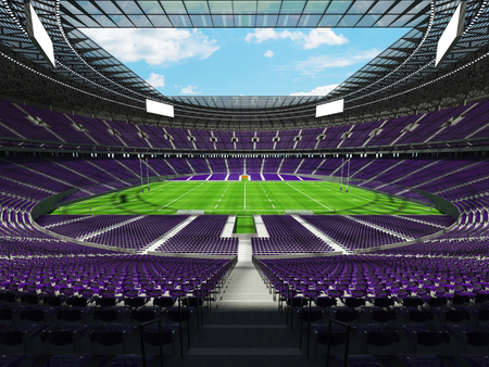 attempt: 3D render of a round rugby stadium with purple seats and VIP boxes for hundred thousand people