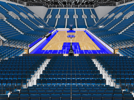 Beautiful sports arena for basketball with gray blue seats and VIP boxes