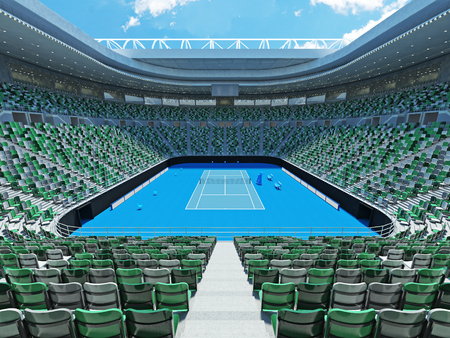 retractable: 3D render of beutiful modern tennis grand slam lookalike stadium for fifteen thousand fans