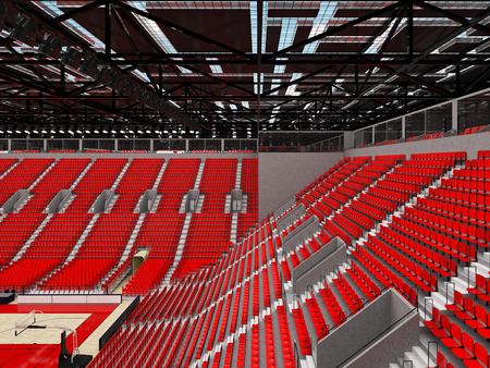 3D render of beautiful sports arena for basketball with floodlights and red seats and VIP boxes for ten thousand people