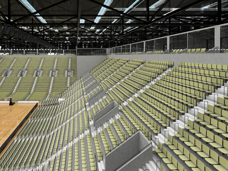 Beautiful sports arena for basketball with gray green seats and VIP boxes Stock Photo