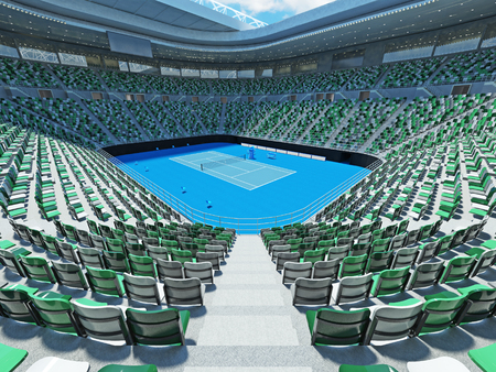 lookalike: 3D render of beutiful modern tennis grand slam lookalike stadium for fifteen thousand fans