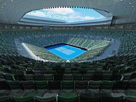 3D render of beutiful modern tennis grand slam lookalike stadium for fifteen thousand fans