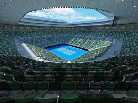 3D render of beutiful modern tennis grand slam lookalike stadium for fifteen thousand fans