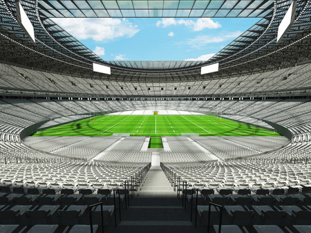 attempt: 3D render of a round rugby stadium with  white seats and VIP boxes for hundred thousand people