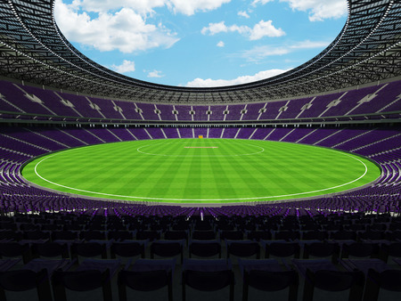 3D render of a beautiful modern round cricket stadium with purple seats and VIP boxes for hundred thousand people Фото со стока