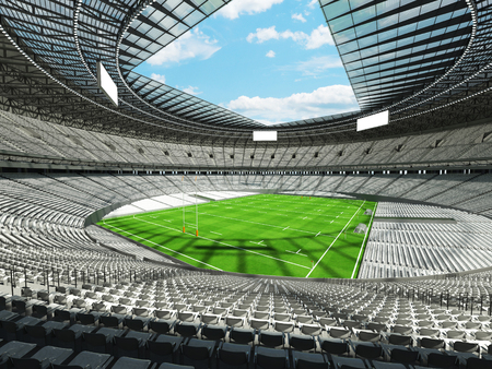 3D render of a round rugby stadium with  white seats and VIP boxes for hundred thousand people