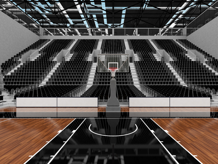 3D render of beautiful sports arena for basketball with floodlights and black seats and VIP boxes
