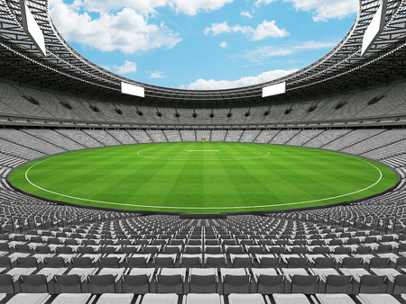 3D render of a beautiful modern round cricket stadium with white seats and VIP boxes for hundred thousand people Stock Photo