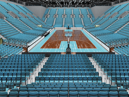 Beautiful sports arena for basketball with sky blue seats and VIP boxes