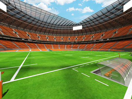 3D render of a round rugby stadium with orange seats and VIP boxes for hundred thousand people Stock Photo