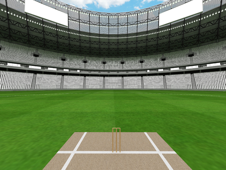 3D render of a beautiful modern round cricket stadium with white seats and VIP boxes for hundred thousand people Фото со стока