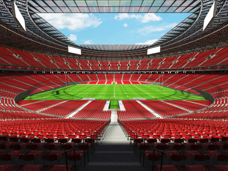 3D render of a round rugby stadium with  red seats and VIP boxes for hundred thousand people Stock Photo