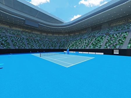 grand hard: 3D render of beutiful modern tennis grand slam lookalike stadium for fifteen thousand fans