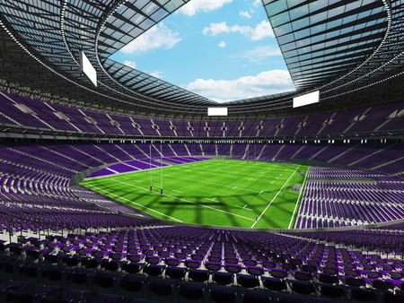 3D render of a round rugby stadium with purple seats and VIP boxes for hundred thousand people
