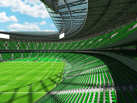 3D render of a round rugby stadium with  green seats and VIP boxes for hundred thousand people Stock Photo