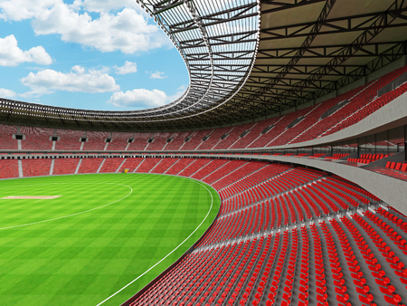 3D render of a beautiful modern round cricket stadium with red seats and VIP boxes for hundred thousand people