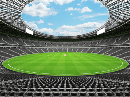 3D render of a beautiful modern round cricket stadium with black seats and VIP boxes for hundred thousand people