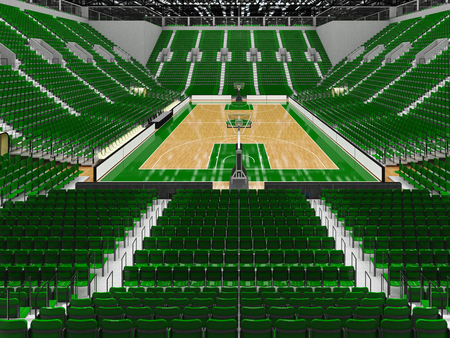 Beautiful sports arena for basketball with green seats and VIP boxes Stock Photo