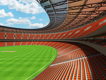 3D render of a beautiful modern round cricket stadium with orange seats and VIP boxes for hundred thousand people