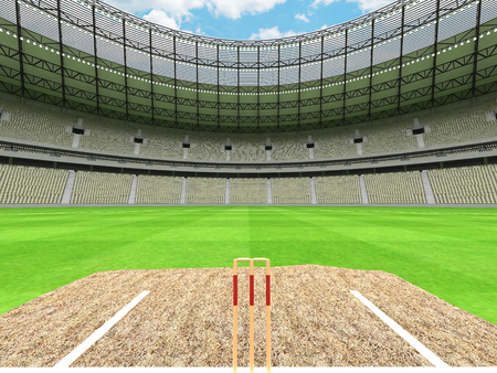 3D render of a beautiful modern round cricket stadium with grey green seats and VIP boxes for hundred thousand people