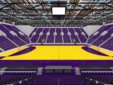 3D render of beautiful sports arena for handball with floodlights and purple seats and VIP boxes for ten thousand people Stock Photo