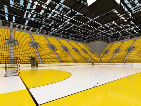 노란 좌석과 VIP 상자가있는 핸드볼을위한 아름다운 스포츠 경기장 스톡 콘텐츠
