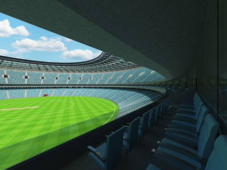 3D render of a beautiful modern round cricket stadium with sky blue seats and VIP boxes for hundred thousand people Stock Photo