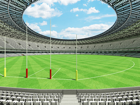 3D render of a round Australian rules football stadium with  white seats and VIP boxes for fifty thousand fans Stock Photo