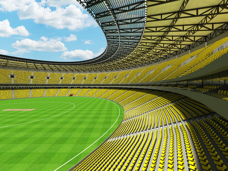3D render of a beautiful modern round cricket stadium with bright yellow seats and VIP boxes for hundred thousand people