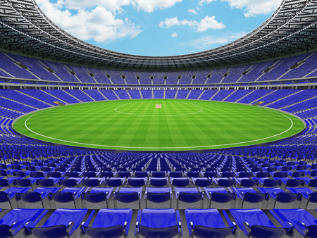 3D render of a beautiful modern round cricket stadium with blue seats and VIP boxes for hundred thousand people