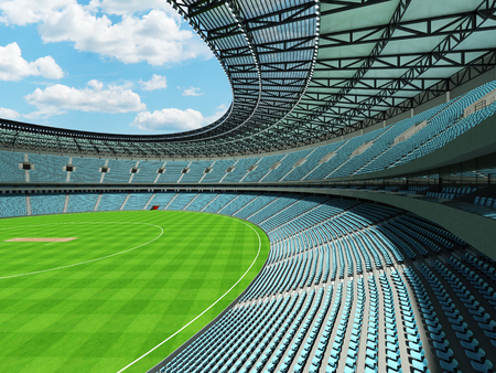 3D render of a beautiful modern round cricket stadium with sky blue seats and VIP boxes for hundred thousand people Фото со стока