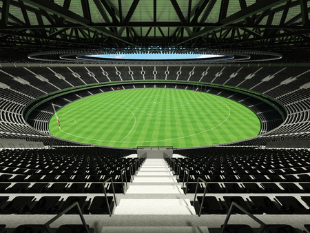 3D render of a round Australian rules football stadium with  black seats and VIP boxes for fifty thousand fans