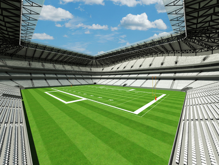 3D render of large American football stadium with white seats and VIP boxes for fifty thousand spectators