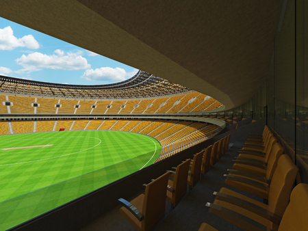 3D render of a beautiful modern round cricket stadium with yellow seats and VIP boxes for hundred thousand people Stock Photo