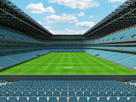 3D render of a large capacity soccer - football Stadium with an open roof and sky blue seats with open roof and floodlights Stock Photo