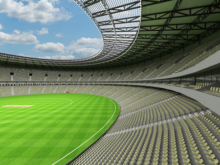 3D render of a beautiful modern round cricket stadium with olive grey green seats and VIP boxes for hundred thousand people Фото со стока