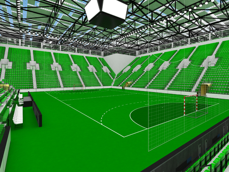 3D render of beautiful sports arena for handball with floodlights and green seats and VIP boxes for ten thousand people