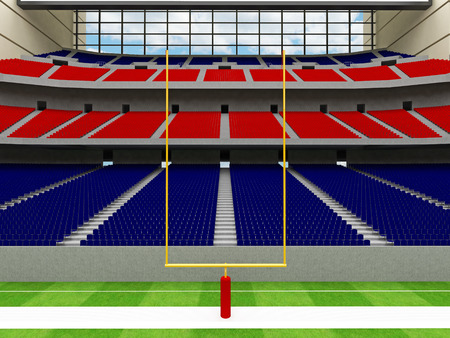 lookalike: 3D render of beautiful modern American football super bowl lookalike stadium whit red and blue chairs and closed roof
