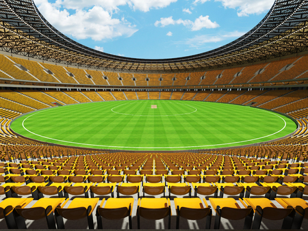 3D render of a beautiful modern round cricket stadium with yellow seats and VIP boxes for hundred thousand people Фото со стока