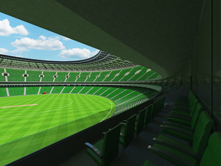 3D render of a beautiful modern round cricket stadium with green seats and VIP boxes for hundred thousand people