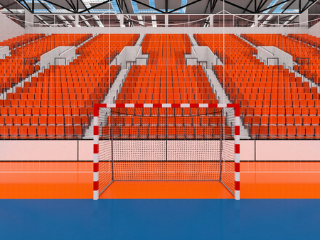 3D render of beautiful sports arena for handball with floodlights and orange seats and VIP boxes for ten thousand people